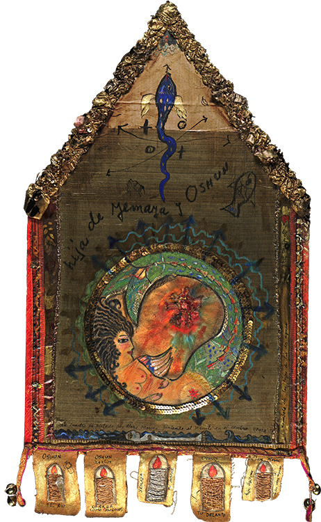 Hija de Yemaya y Oshún (Daughter of Yemaya and Oshun), n.d. Mixed media on canvas, 27 x 14 3/4 in.