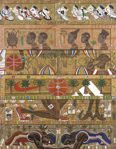 El jardín del alardoso (Igbofefe) (The Garden of the Braggart (Igbofefe)), 2012. Mixed media on wood, 67 x 52 in.