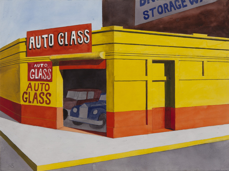 Auto Glass, Late 1980's. Watercolor on paper. 22 1/2 x 30 in.