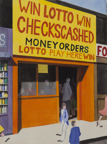 Untitled (Win Lotto), Late 1980's. Watercolor on paper. 29 x 21 1/2 in.