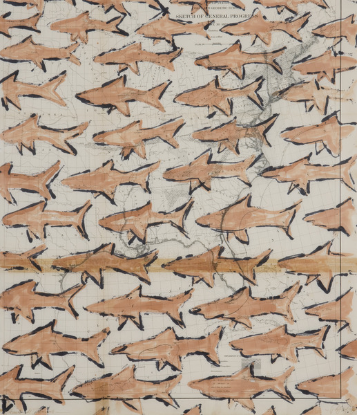 School of Sharks, 1994. Ink and dye on vintage map paper. 30 x 24 in.