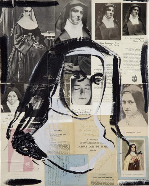Monja, de la serie Acto de Fe (Nun, from the series Loss of Faith), 2000. Oil and cut-and-pasted printed paper on canvas. 20 x 16 in.