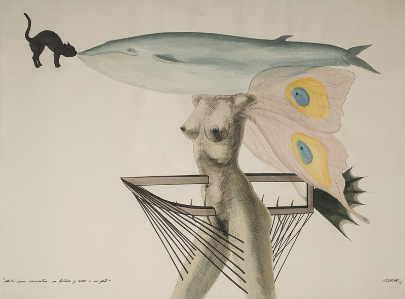 Sobre cómo convertirse en ballena y amar a un gato (How to Become a Whale and Love a Cat), 1996. Watercolor and ink on paper. 33 1/2 x 45 3/4 in.