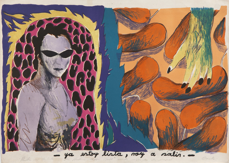 - Ya estoy lista, voy a salir, de la serie Cuatro segundos de papel (- I'm Ready, I'm Going Out, from the series Four Seconds of Paper), 1985. Lithograph on cardboard. 21 1/8 x 31 1/8 in.