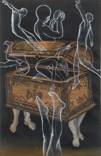 La caja de Pandora (Pandora's Box), 2003. Oil, wood veneer and metal on linen. 13 x 9 in.