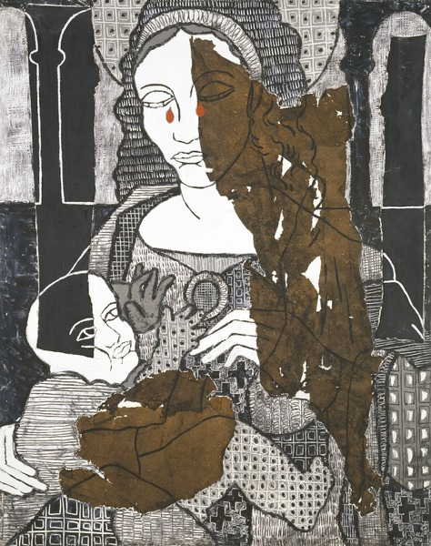 La Virgen del Niño V (The Virgin and Child V), 2000. Acrylic, rice paper and fabric on canvas. 39 x 31 1/2 in.