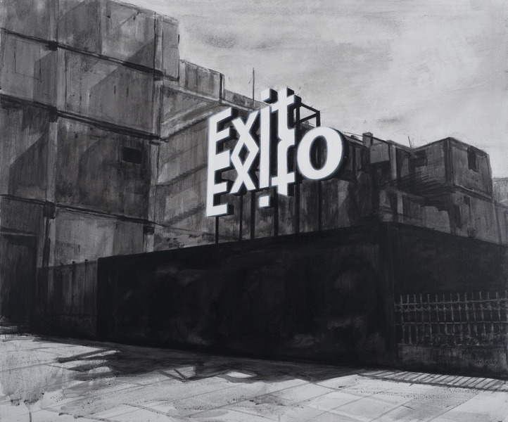 Exit-Exito, de la serie Efugios (Exit-Exito, from the series Subterfuges), 2012. Acrylic on canvas. 33 x 39 1/2 in.