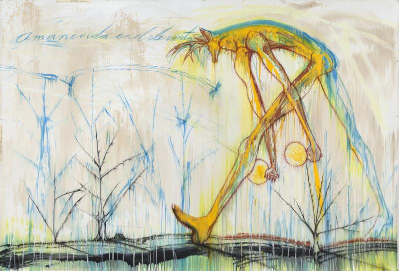 Amanecida en el desierto (Dawn in the Desert), 2013. Acrylic on canvas. 73 x 106 in.