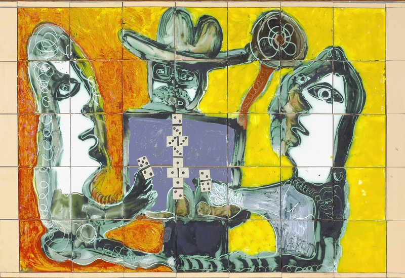 Jugando Dominó (Playing Domino), 2007. Ceramic mural. 23 1/2 x 29 1/2 in.