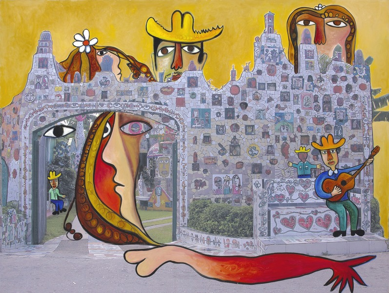 Entrada de Fuster (Entrance to Fuster), 2008. Oil on digitally printed canvas. 39 3/8 x 52 in.