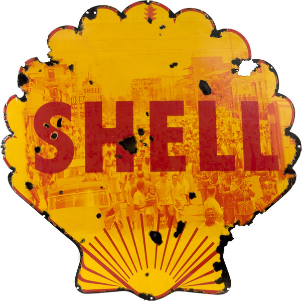Shell, 2008. Mixed media on porcelain-laquered steel. 46 x 46 in.