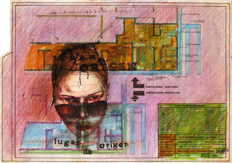 Lugar de origen (Place of Origin), 2004. Colored pencil and ink on glassine. 16 1/2 x 23 1/2 in.