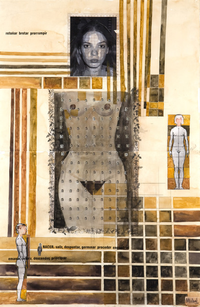 Untitled, 2005. Watercolor, pencil, ink and cut-and-pasted printed paper on paper. 38 3/4 x 25 1/4 in.