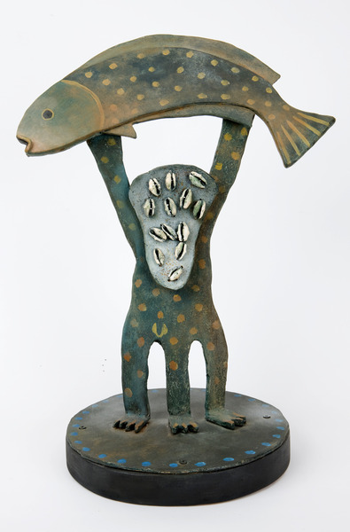 Mi pez y yo (My Fish and I), 2008. Iron and African shells on wood base. 19 3/4 x 13 3/4 x 9 1/2 in.