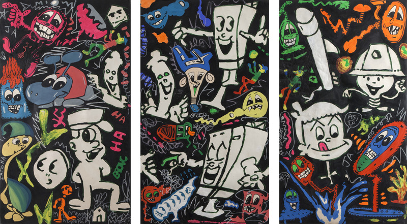Formas fosforescentes (Phosphorescent Forms), 1986. Mixed media on cardboard. Three panels of 47 1/4 x 27 1/2 in. each