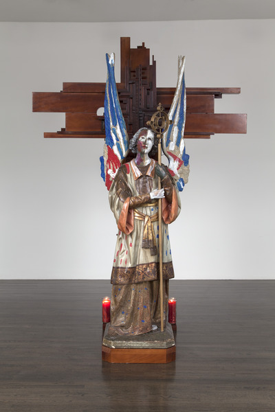 Resurrección (Resurrection), 2013. Wood, polychrome plaster, metal, candles, clay figure, found objects. 96 x 70 x 48 in.