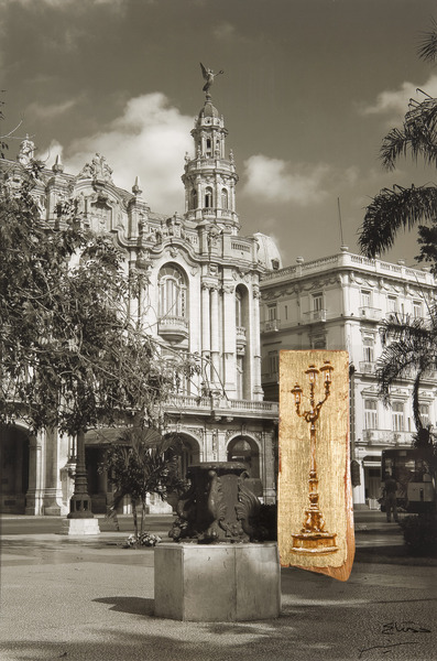 San José y Paseo del Prado, de la serie Peregrinaje (San Jose and Paseo del Prado, from the series Pilgrimage), 2009. Acrylic and gold leaf on wood, black-and-white photograph. 29 x 19 1/2 x 1 1/2 in.