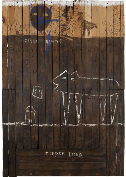 Velando por los míos (Watching over my People), 2003. Petroleum, latex paint and nails on wood. 72 x 60 x 2 3/4 in.