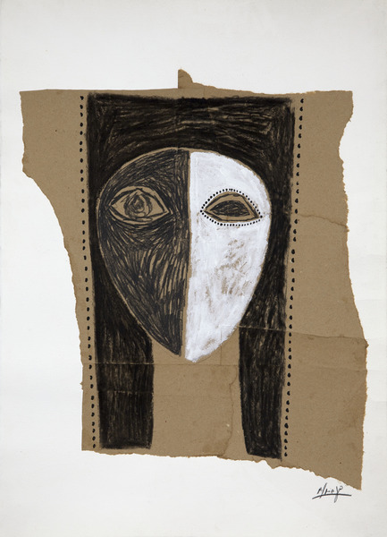Untitled, n.d. Acrylic, charcoal and collage of Kraft paper on paper. 27 x 19 1/2 in.