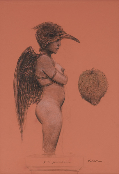 Y la guanábana (And the Soursop), 2006. Conté crayon on paper. 38 1/2 x 27 in.