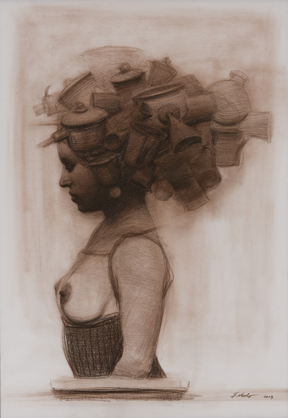 Tribulaciones (Tribulations), 2007. Conté crayon on paper. 38 1/2 x 27 in.