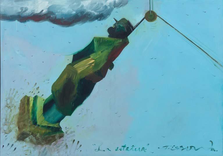 La estatua (The Statue), 1992. Oil on canvas. Object: 58 5/8 x 83 1/2 in. Framed: 60 7/8 x 85 7/8 x 2 in.