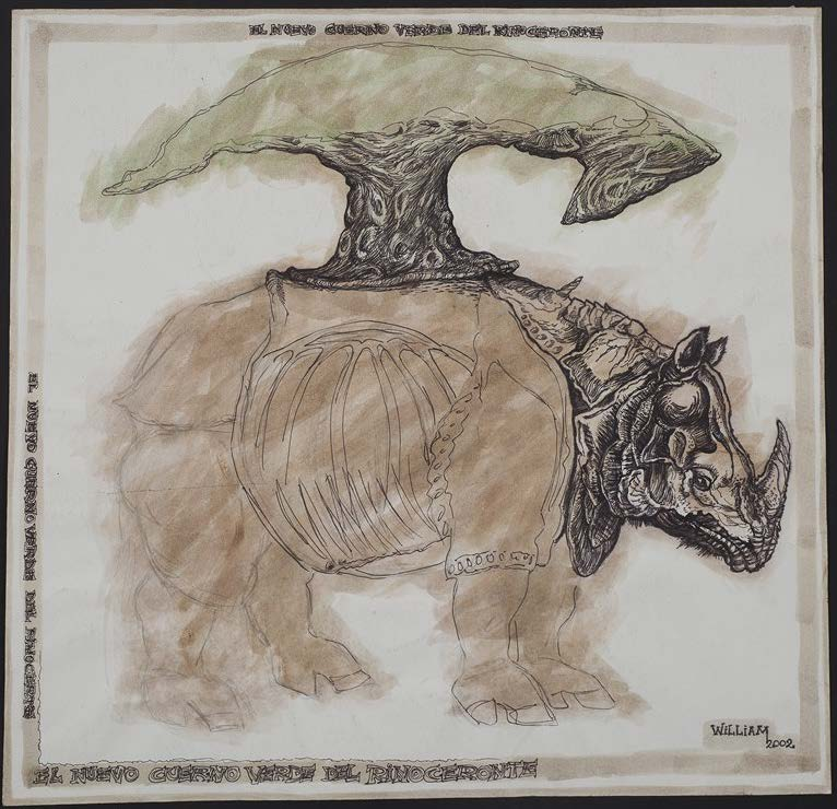 El nuevo cuerno verde del rinoceronte (The New Green Horn of the Rhino) 2002. Pen, pencil and watercolor on paper. Paper: 23 1/4 x 23 3/4 in. Framed: 29 1/4 x 30 1/4 in.