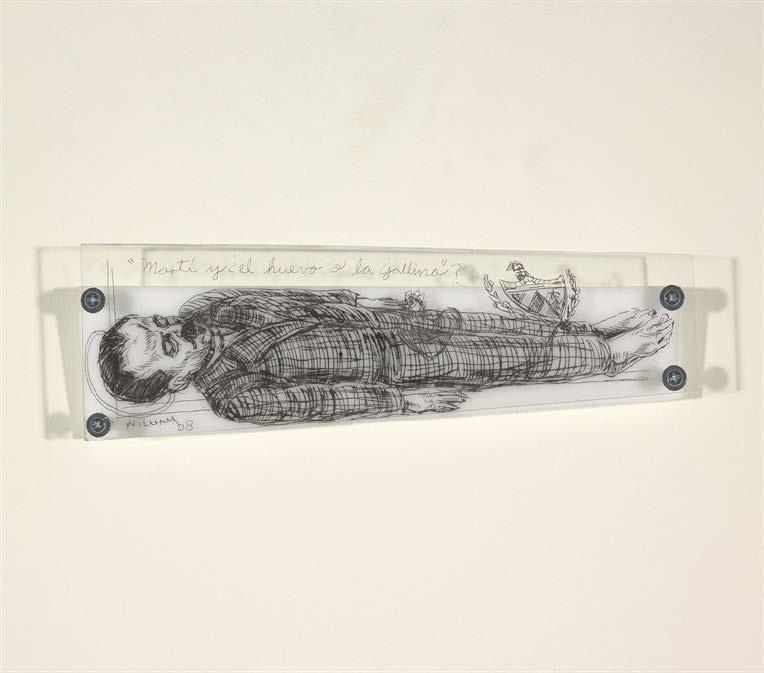 Marti y ¿el huevo o la gallina? (Marti and The Chicken or the Egg?), 2008. Etching on plexiglass and metal. Object: 11 x 3 1/2 x 1 in.