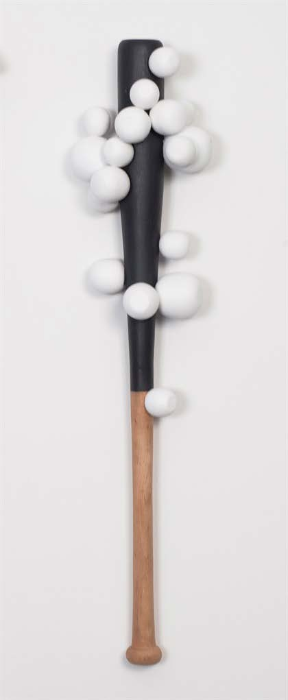 One goes, Two goes, Fun goes (Atomic Form), 2013. Wood and paint. Object: 35 x 7 x 4 1/2 in.