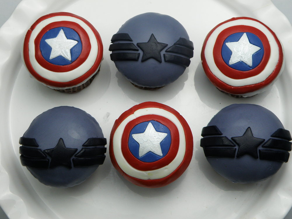 Captain america cupcakes - Choose a fluffy vanilla, deliciously moist chocolate or red velvet sponge, top it with cream cheese or chocolate cream cheese frosting and voilà. 6 cupcake box- £1212 cupcake box- £24
