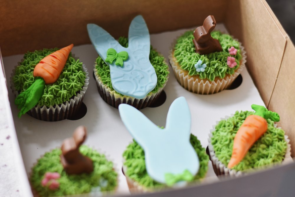 easter cupcakes - Not only delicious but also pretty. Choose your flavour sit down and relax, we will deliver those cuties to your door.6 cupcake box- £1212 cupcake box- £24