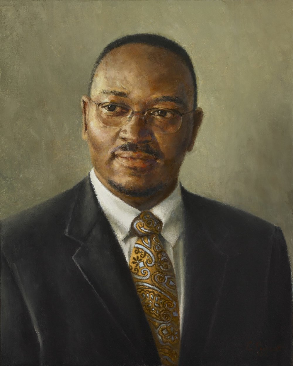 "The Honorable Reverend Clementa C. Pinckney,  2016, Oil on Canvas, 20"" x 16"""