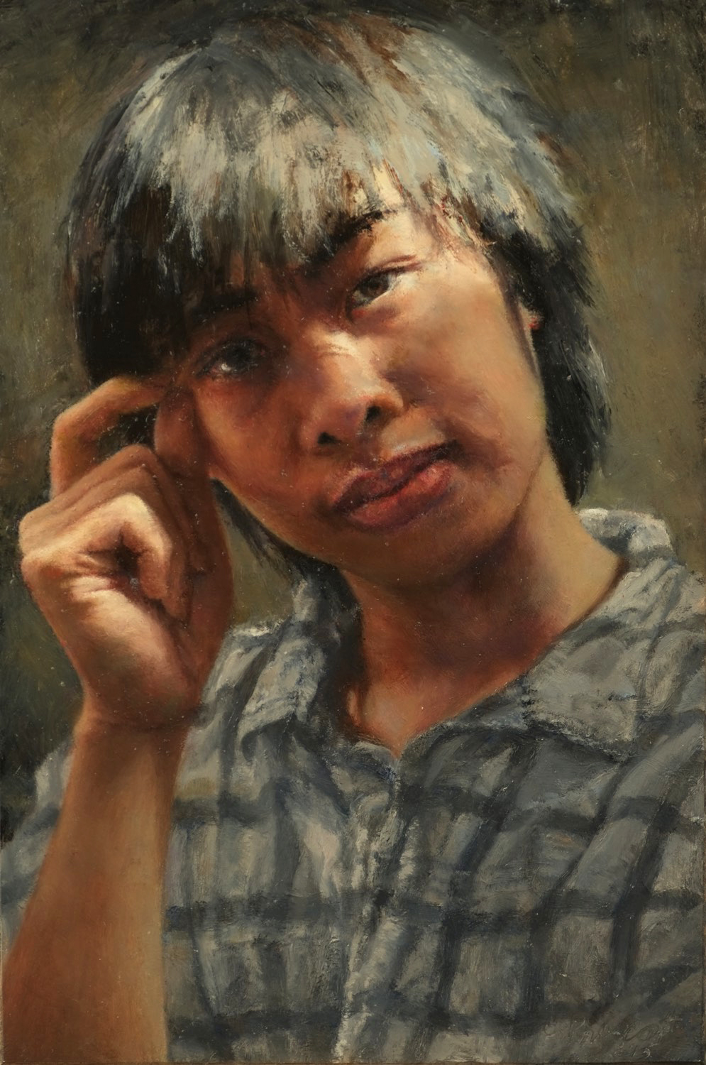 "Quan , 2015, Oil on Panel, 9"" x 6"""