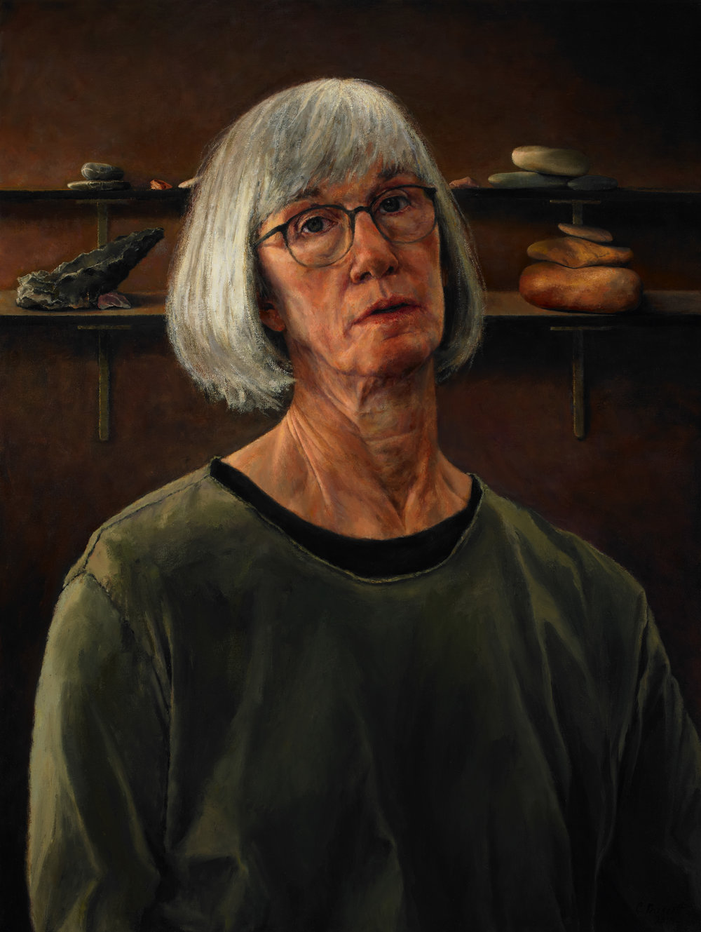 "Self Portrait with Memorials , Oil on Canvas, 2011, 40"" x 30"""