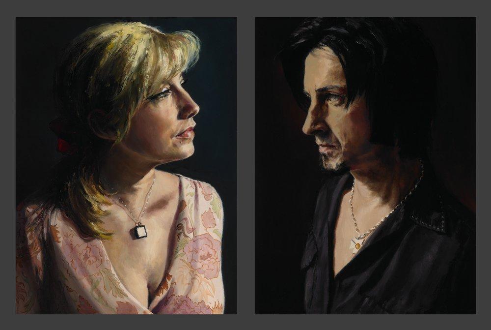 """Michelle , Oil on Wood Panel, 2005, 12"""" x 9""""  Deuce , Oil on Wood Panel, 2005, 12"""" x 9"""""""
