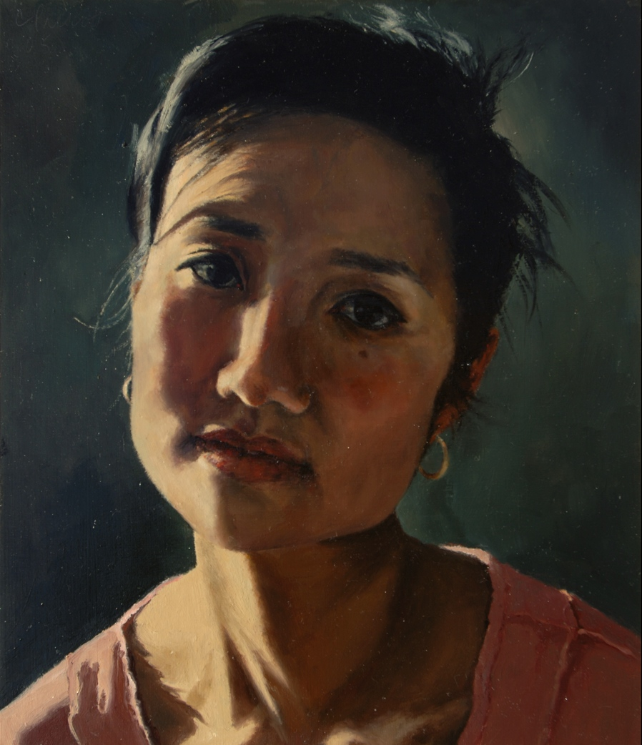 """Patty Remembering , Oil on Wood Panel, 2005, 14"""" x 12"""""""