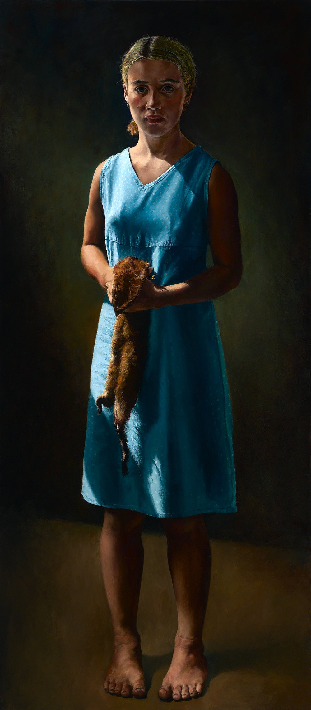 """Girl With a Mink Pelt , Oil on Canvas, 2004, 64"""" x 28""""  Outwin-Boochever Portrait Competition, Smithsonian Institution, Washington D.C,2006-8"""