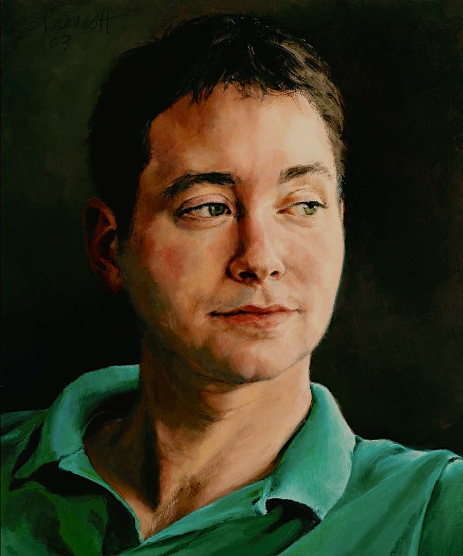 """David , Oil on Wood Panel, 2003, 12"""" x 10"""", Private Collection"""