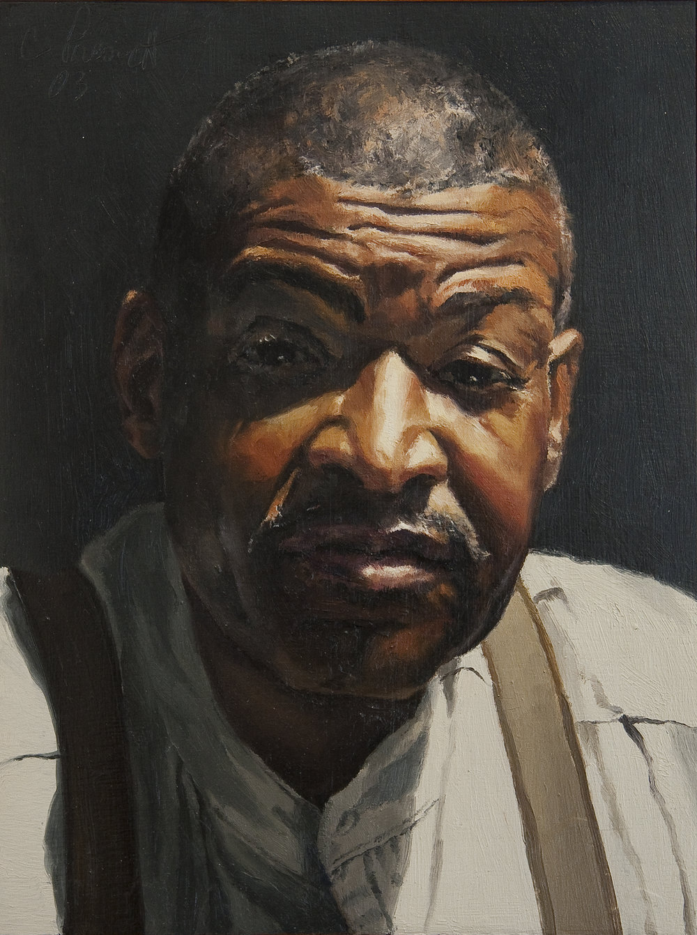 """Under the Scrutiny of Barry Davis , Oil on Wood Panel, 2003, 12"""" x 9"""", Private Collection"""