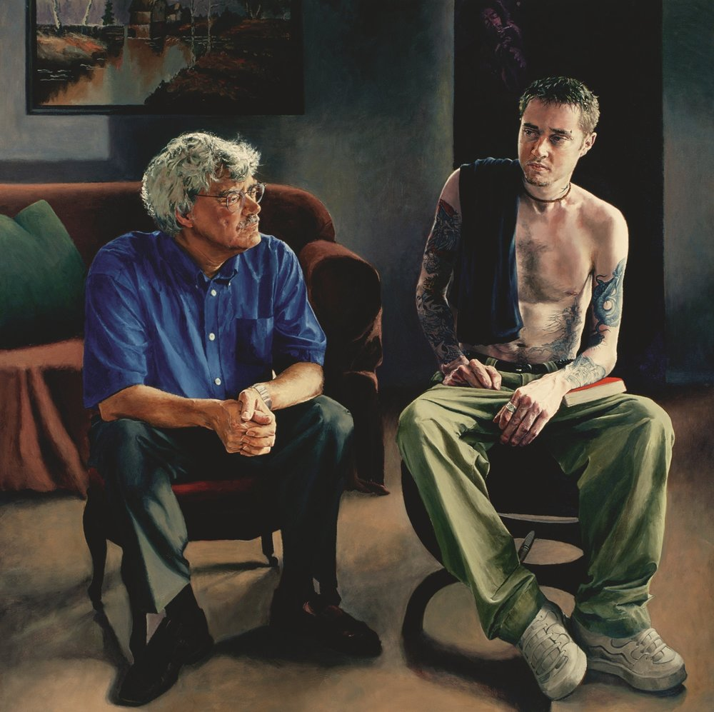 """Body and Mind: Kevin with Uncle Bill , Oil on Canvas, 2000, 68"""" x 68"""", Private Collection"""