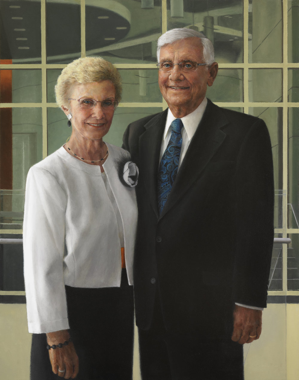 "Thank you, Calvin and Janet High , Oil on Canvas, 41"" x 32"", 2013  High Center for Worship and Performing Arts, Permanent Collection, Messiah College, Grantham, PA"