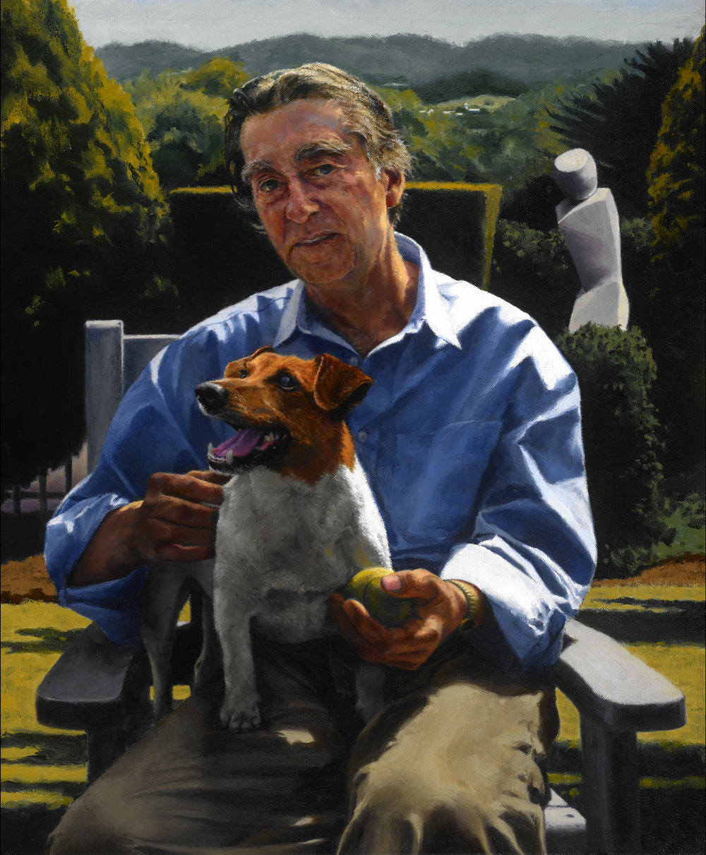 "Nick with Jack and Pensee , Oil on Canvas, 2008, 25"" x 20""  Private Collection"