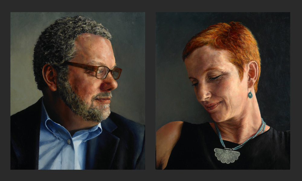 "Gregory and Suzanne Wolfe , 2008, Oil on Wood Panel, 14"" x 12"" each  Private Collection"