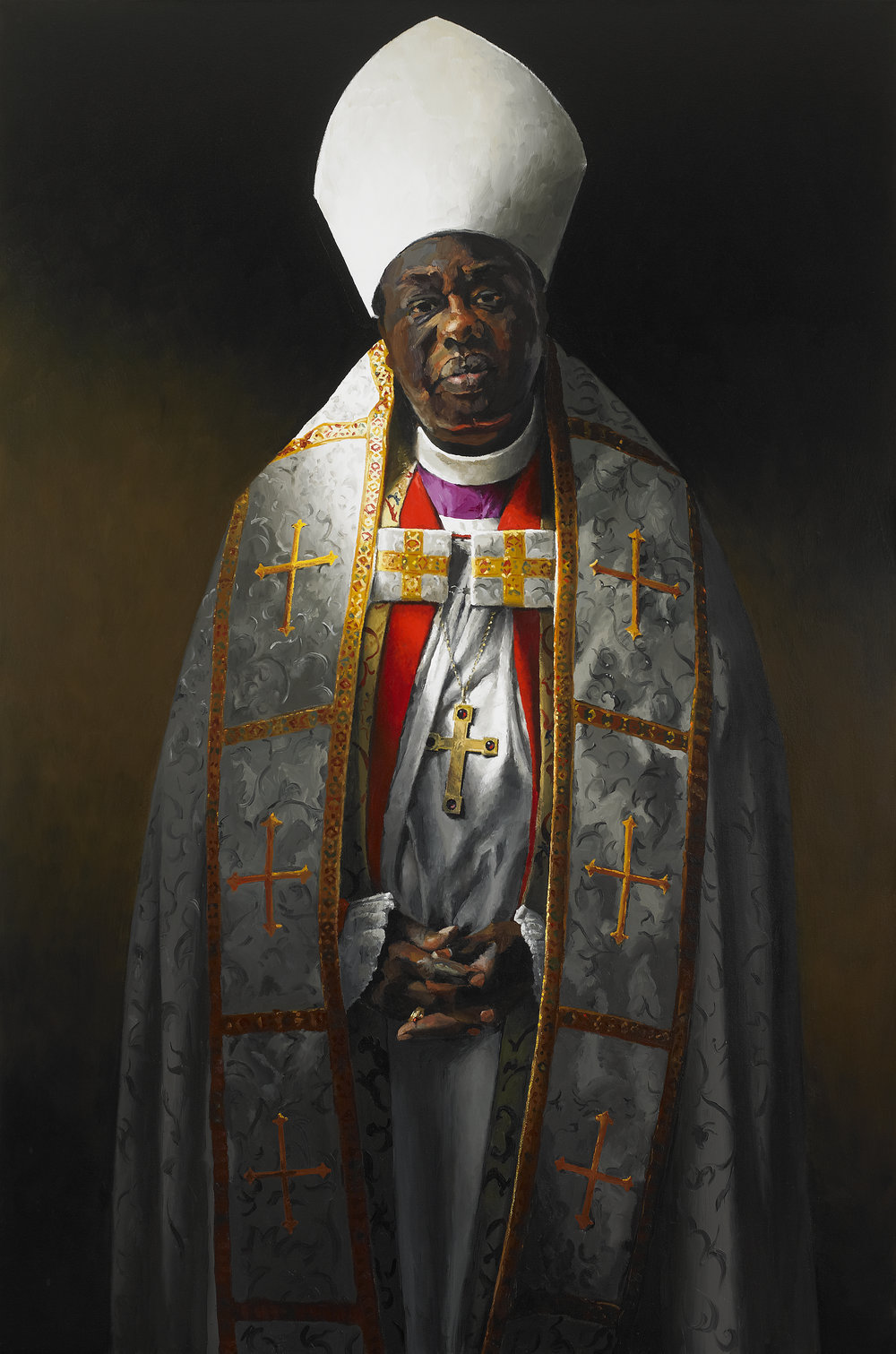 "Benoni Ogwal-Abwang, Bishop in Exile , Oil on Canvas, 1995, 60"" x 40""  Collection, Messiah College, Grantham, PA"