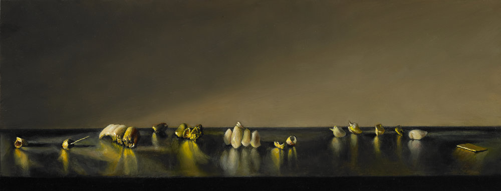 "The History of Gold , Oil on Wood Panel, 2011, 5 1/2"" x 14"""