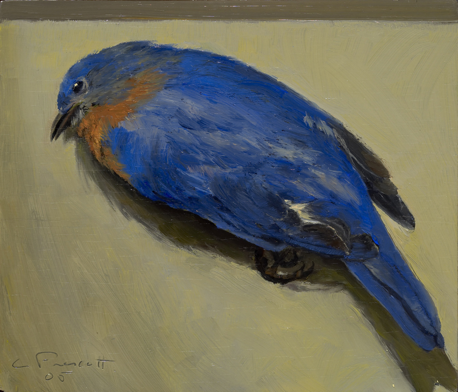 "Bluebird , Oil on Wood Panel, 2006, 6"" x 7"", Private Collection"