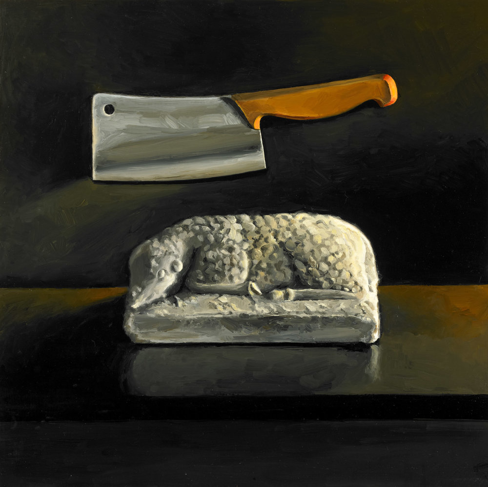 "The Lamb and the Cleaver , Oil on Wood Panel, 1995, 21.5"" x 21.5"""