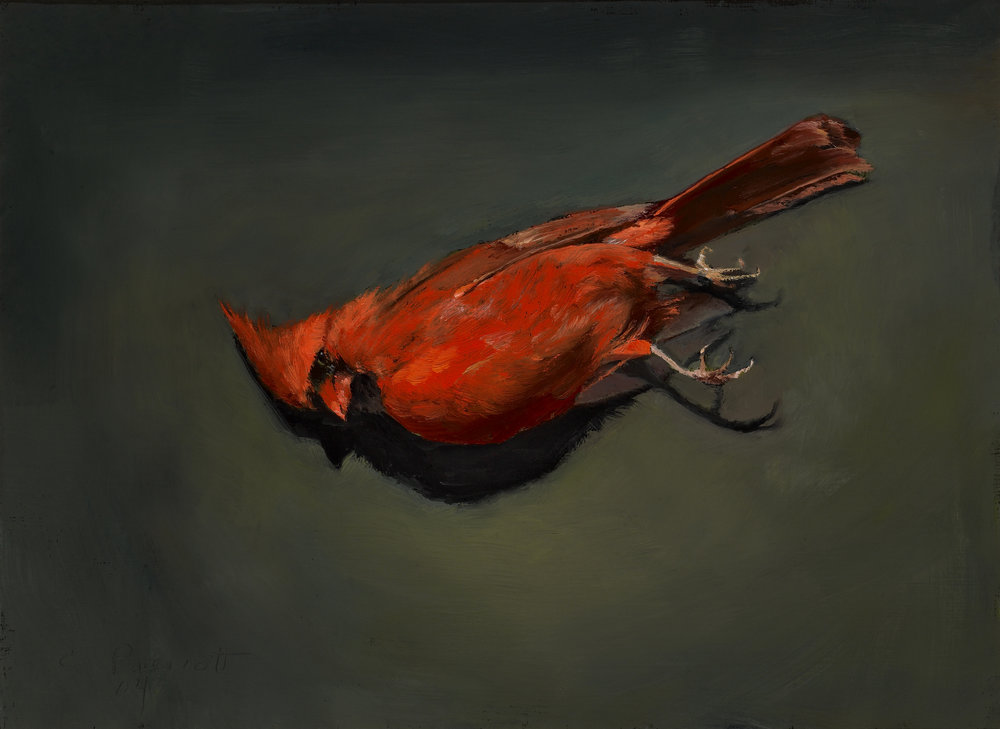 "Fallen Bandit , Oil on Wood Panel, 2006, 9"" x 12"""