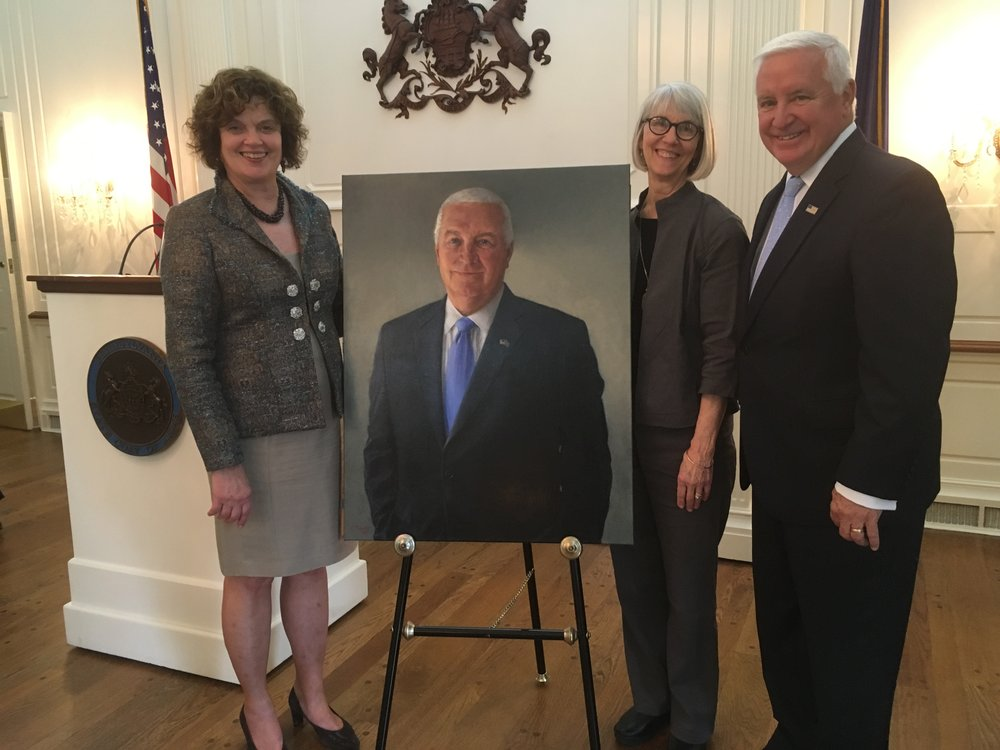 Former Governor Tom and First Lady Susan Corbett after the unveiling of the Official Governor's Portrait, October 24, 2018.  The painting is installed in the State Capitol of Pennsylvania.