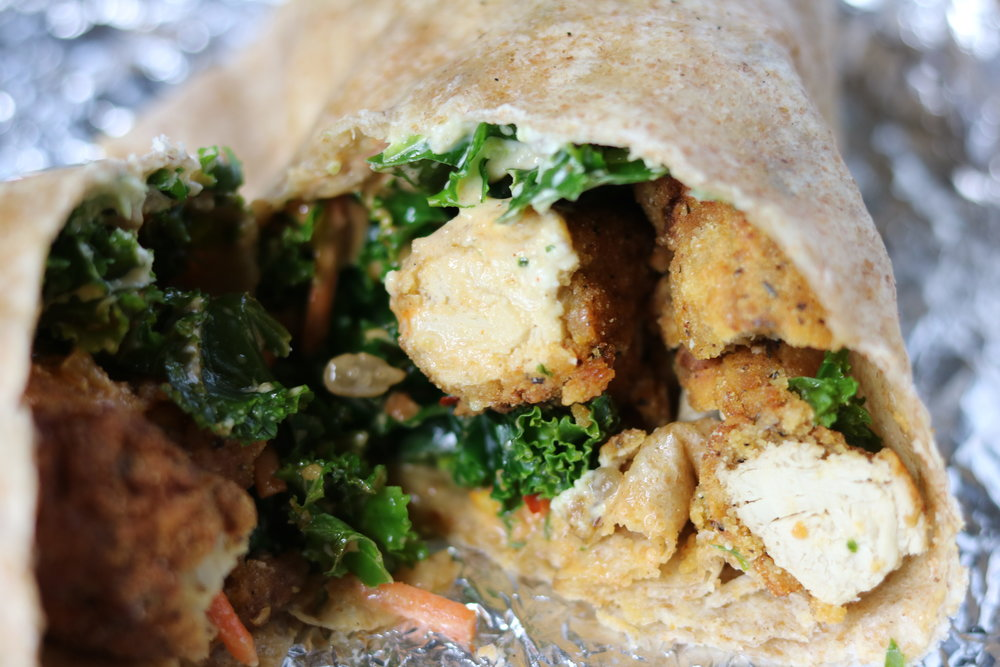 Buffalo Chik-N Wrap w/ poblano ranch and kale salad